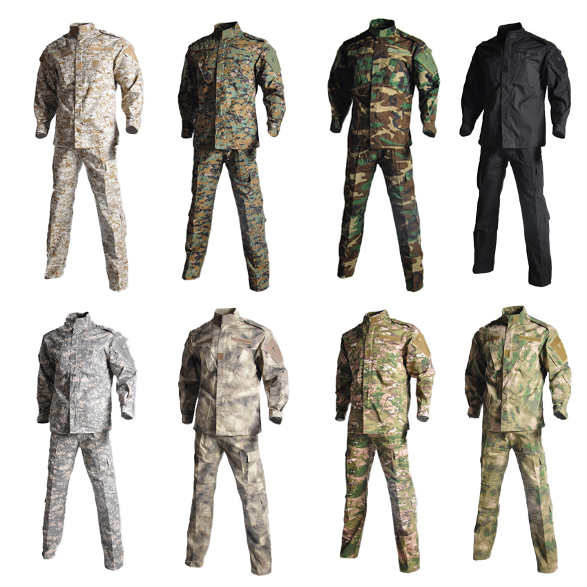 2PCs Combat Jacket+trousers Camouflage Tactics Man Long Sleeve Tactical Hunting Military Uniform Security Team Wear for Male