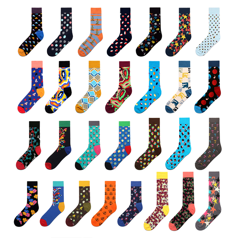PEONFLY  New  Brand Men Socks Funny British Style Casual Stripe Diamond Happy Socks Cotton Long Chaussettes Homme Fantaisie
