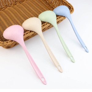 Tableware Wheat Straw Rice Ladle 1Pcs 4 Colors Long Handle Soup Spoon Meal Dinner Scoops Kitchen Supplies Cooking Tool