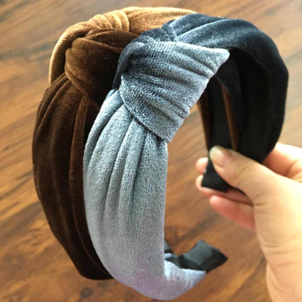 2018 Новый Винтажный бархатный Твистер, повязки на голову женская однотонная цветная повязка на голову Женский галстук-бабочка повязки для волос женские аксессуары для волос