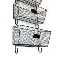 3pcs Black Mount Metal Rack Storage Basket Suitable For Bathroom Kitchen Bedroom Vintage Triple Sundries Collection Organizer