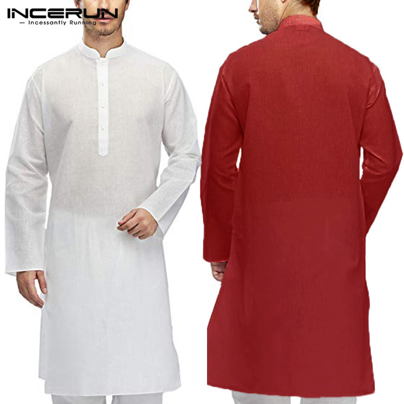 158658443396 Stylish Mens Kurta Dress Shirts Long Sleeve Stand Collar Indian Clothes  Muslim Aaudi Arabia Islamic Clothing
