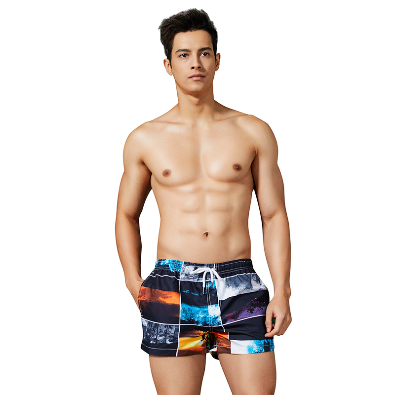 Hot Sale Men's Plaid   Board     Shorts   Scenery Printed Beach Pants Bermuda Surfing   Shorts   Quick Dry Boardshort Polyester Swim   Short