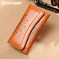 Oyixinger New Genuine Cowhide Long Women Wallets Hollow Flower Money Purses Woman Leather Wallet Purse Carteira Feminina Portfel