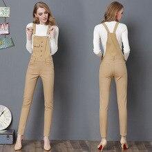 Высококачественный женский джинсовый комбинезон зимний комбинезон с рваными карманами и ремешками цвета хаки, комбинезон с пуговицами, длинные джинсовые джинсы-карандаш, комбинезон
