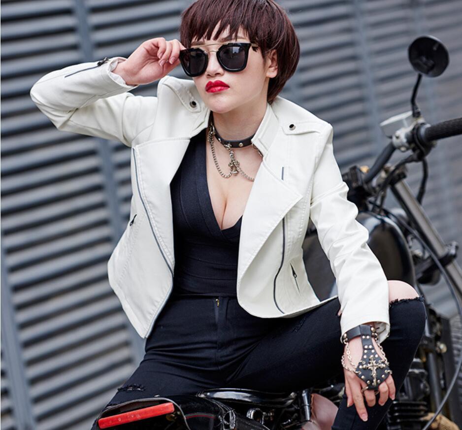 Autumn Women's   Leather   Jacket 2019 New Fashion Stand-collar Zipper Jacket Women Black White Short PU Jackets Female Large Sizes