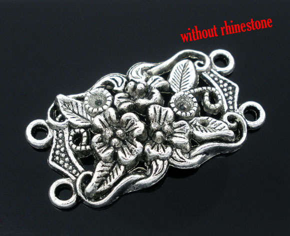 DoreenBeads 10 Silver Color 4 Holes Flower Charm Connectors Beads (B05278), Yiwu