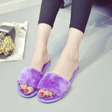 Fashion Women Slippers Home Indoor Plush Female Shoes Comfortable Fur Ladies Slides Chaussure Femme #20