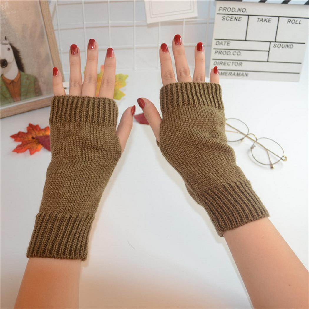 Soft Elastic Stretch Thumb Hole Short Mittens Arm Sleeves for Women Lady Girls Khaki 1Pair Stylish Lace Edge Knitted Winter Warm Fingerless Short Gloves