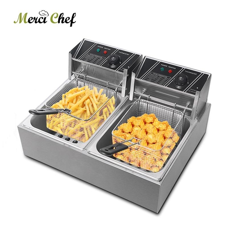 ITOP Tanque Duplo Fritadeira Elétrica Máquina de Fritar Batatas Fritas de Frango de Aço Inoxidável Máquina de Temperatura Ajustável 16L
