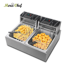 ITOP Double Tank Electric Deep Fryer Machine Stainless Steel French Fries Chicken Frying Adjustable Temperature 16L