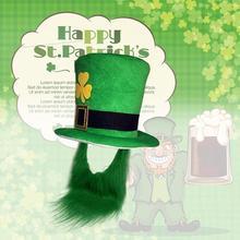 1 piezas Saint Patrick traje de duende sombrero barba del Partido de  Cosplay de Irlanda trébol partido verde irlandés sombreros . 6579d423cba