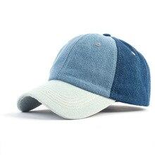 цена на New Fashion Ladies Baseball Cap Denim Cotton Patchwork Adjustable Women Hat Streetwear Blue Casquette