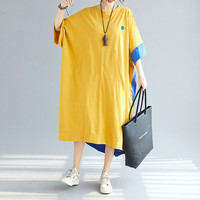 Plus Size TShirt Dress 4XL 5XL 6XL 7XL 8XL Oversized Korean Loose Casual Women Cotton Print Streetwear Long Dresses 2019 Summer