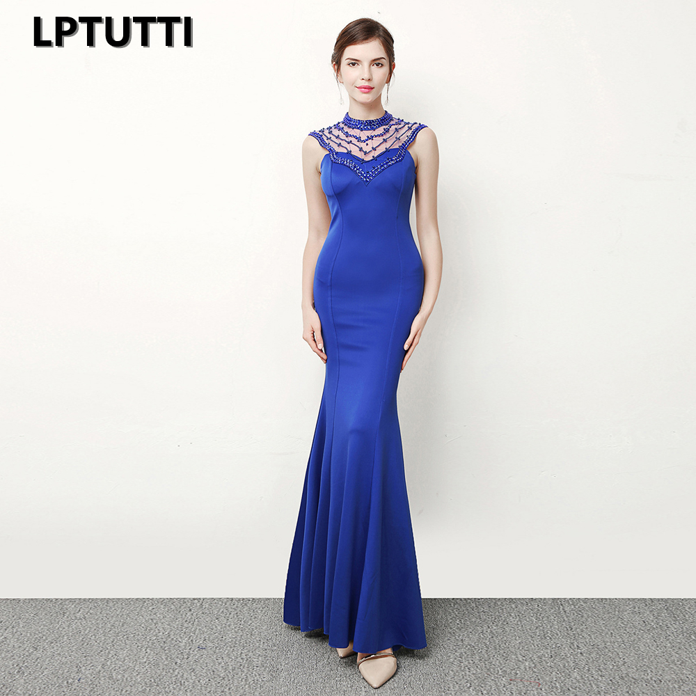 LPTUTTI Crystal Beading Chiffon Sexy New For Women Elegant Date Ceremony Party Prom Formal Gala Luxury