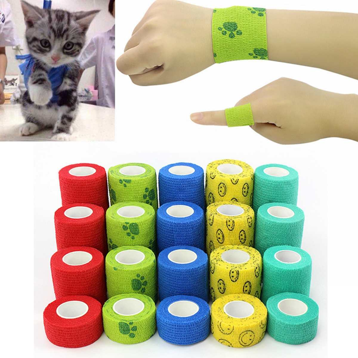 1 Roll 16 Colors Flexible Self Adherent Cohesive Pet Cat Bandage Medical Elastic Dog Bandage Vet Tape Wraps 4 Sizes Waterproof