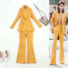 Professional womens suit 2019 spring new banana yellow Slim OL commute one button jacket and trumpet trousers elegant