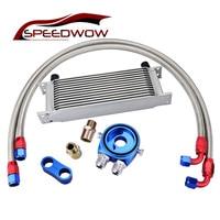 SPEEDWOW 13ROW Racing Oil Cooler Kit+Oil Filter Cooler Sandwich Adapter+AN10 Swivel Hose Fitting+AN10 Divider Clamp Engine