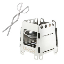 Outdoor Portable Stainless Steel Stove Lightweight Folding Wood Pocket Alcohol Cooking Camping Backpacking