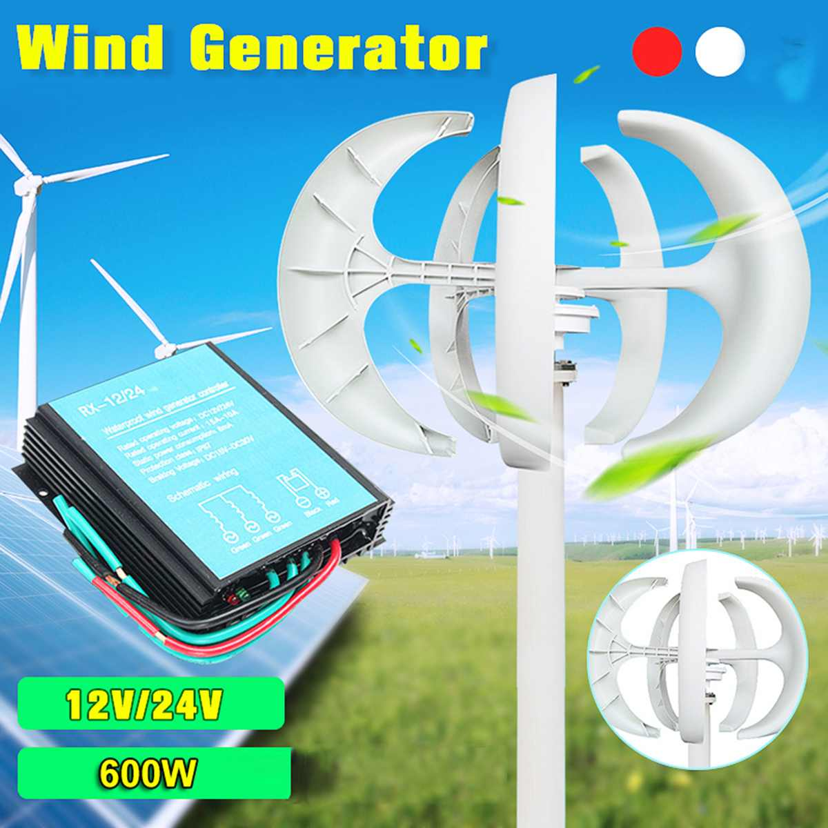 100w/200w/300w/600W 12 24V Vertical Axis Wind Turbine Generator VAWT Boat Garden with Controller Home Residential Use image