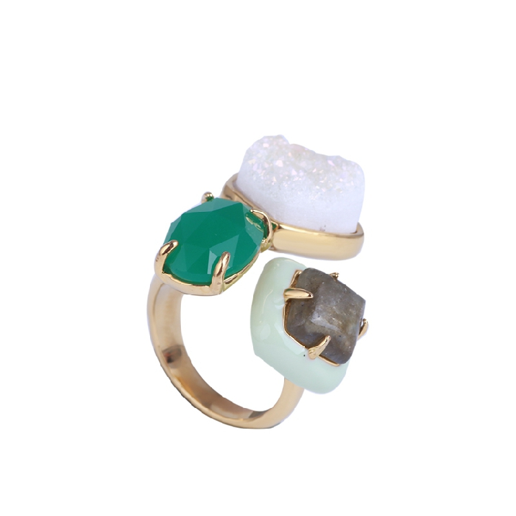 American luxury inlaid irregular gem natural frosted stone personality temperament open ring ring