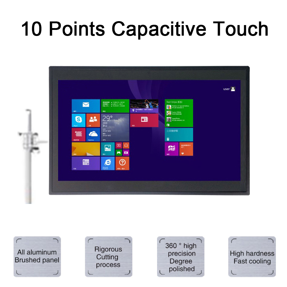 14 Inch 2MM Embedded IP54 Industrial Panel PC,10 Points Capacitive Touch,Intel 3855U,Windows 7/10/Linux,[HUNSN DA10W]