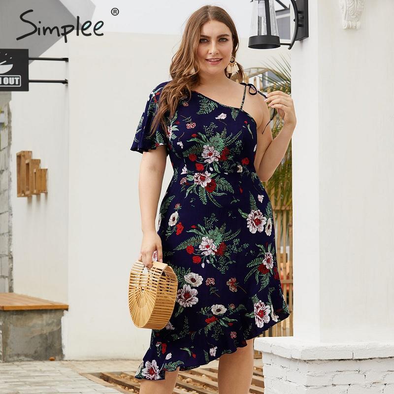 Simplee в богемном стиле, большого размера Женская обувь на каждый день с цветочным принтом; платье с оборками Асимметричный Длинные рукава жен...