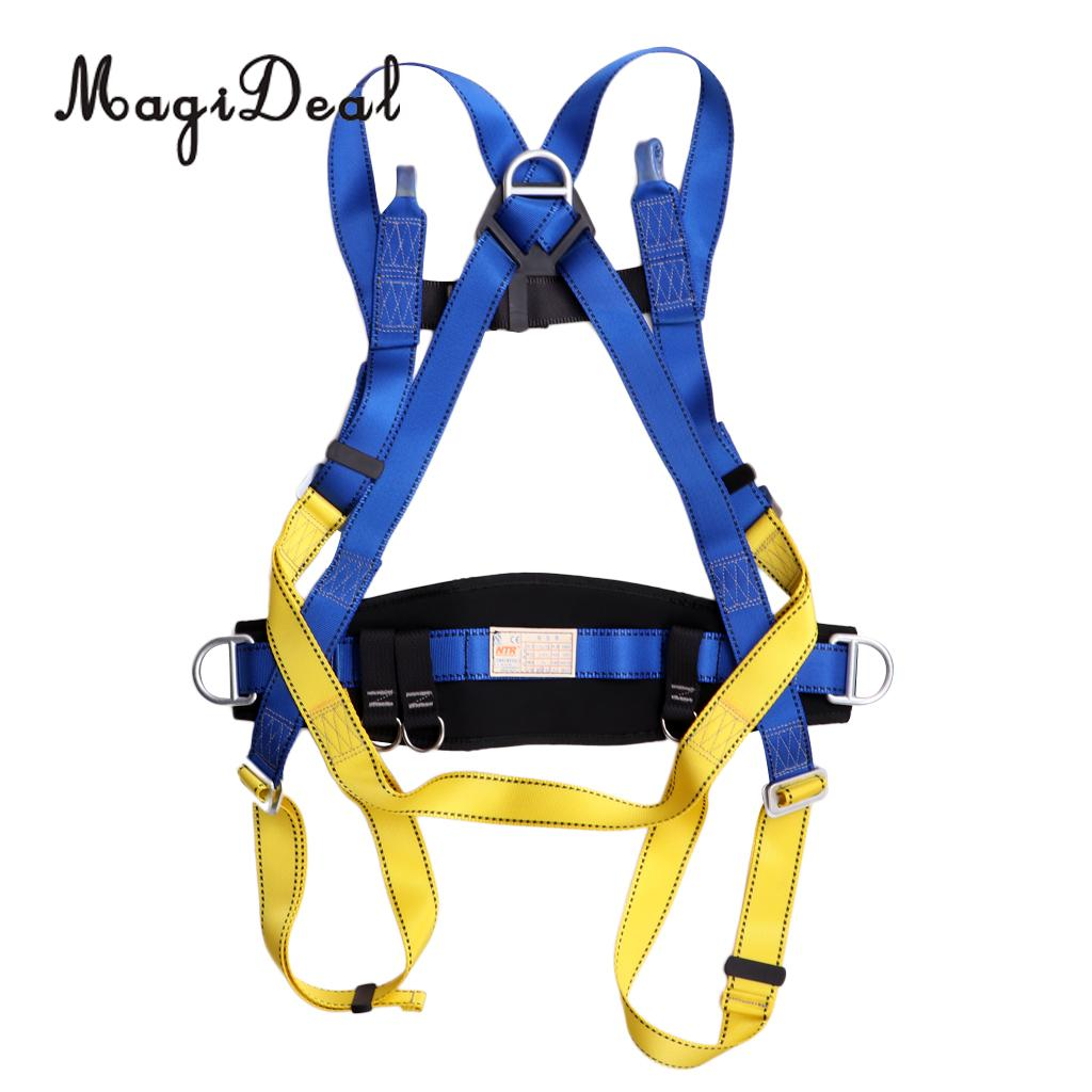 MagiDeal Full Body Safety Rock Climbing Arborist Tree Rappelling Harness Seat Belt Waist Support Belt Outdoors outdoor rock tree climbing rappelling full body safety belt harness black for camping hiking carving equipment climbing acces