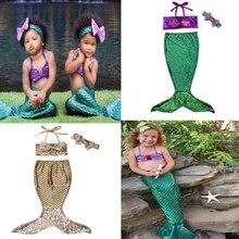 Детские летние купальные костюмы из 3 предметов для маленьких девочек; комплекты бикини с блестками и хвостом русалки; купальный костюм; праздничный костюм; От 0 до 8 лет
