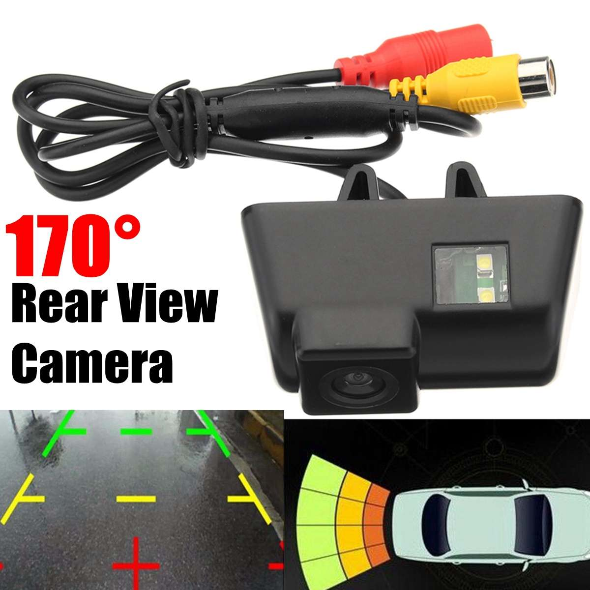 12V 170 Degree CCD Car Reversing Rear View Backup License Plate Backup Camera With 5M Video Cable For Ford Transit Connect 09-13