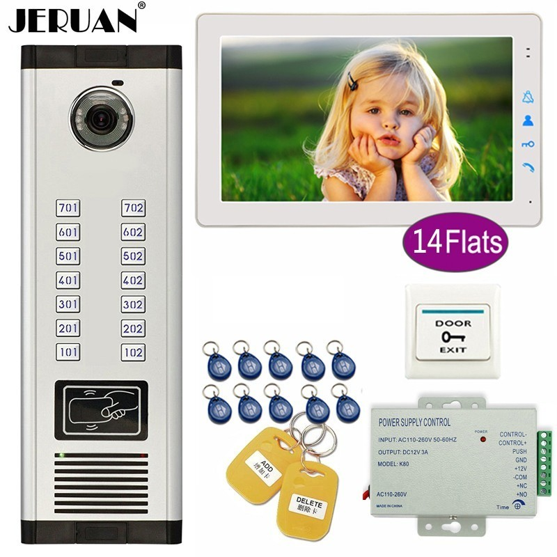 JERUAN Apartment 9 Inch Color TFT Video Door Phone Intercom Access 700TVL Camera Home Gate Entry Security Kit For 14 Families