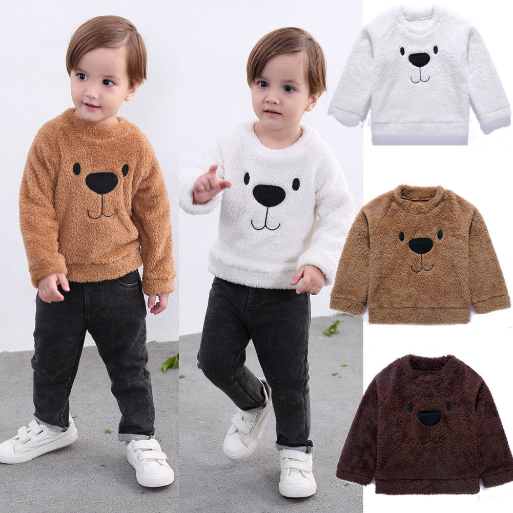 Infant Toddler Girl Fox Long Sleeve Thick Fleece Sweatershirt Tops+Pants