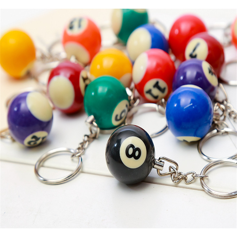 Practical 16pcs New Mixed Number Billiards Shape Resin Alloy Pendant Key Chain Cute Keyring Car Bag Key Accessories Jewelry Gift For Man Jewelry Sets & More