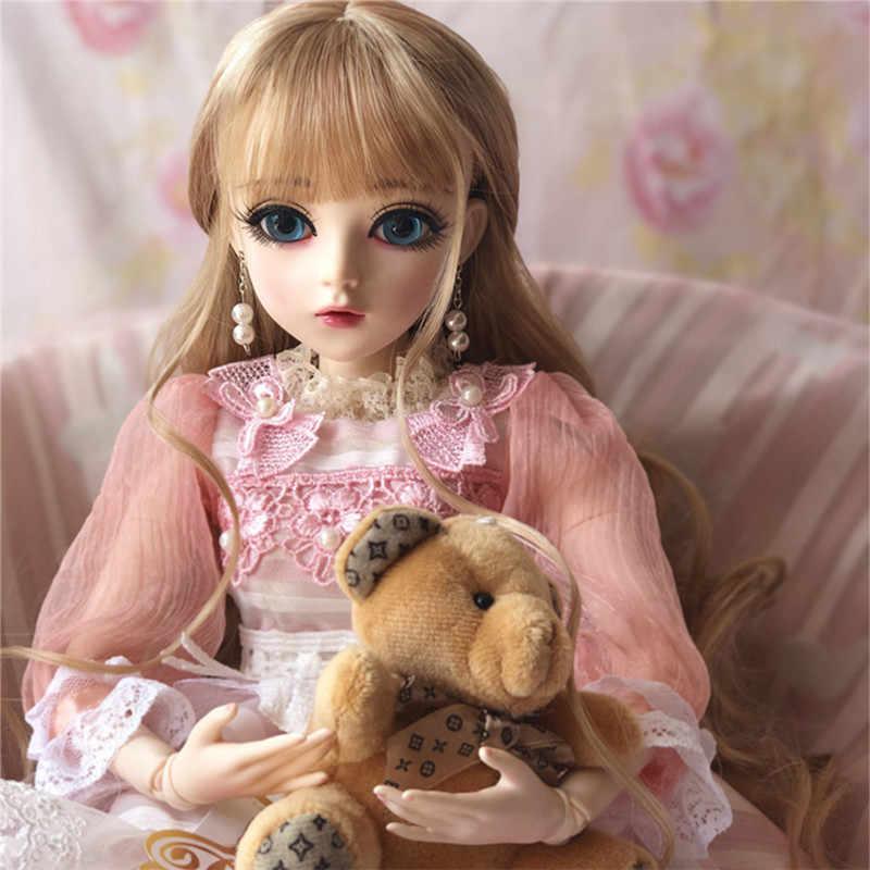 60 cm boneca bjd meninas princesa maquiagem brinquedos articulados com equipamento completo sd bonecas crianças diy vestir-se boneca presente dos namorados