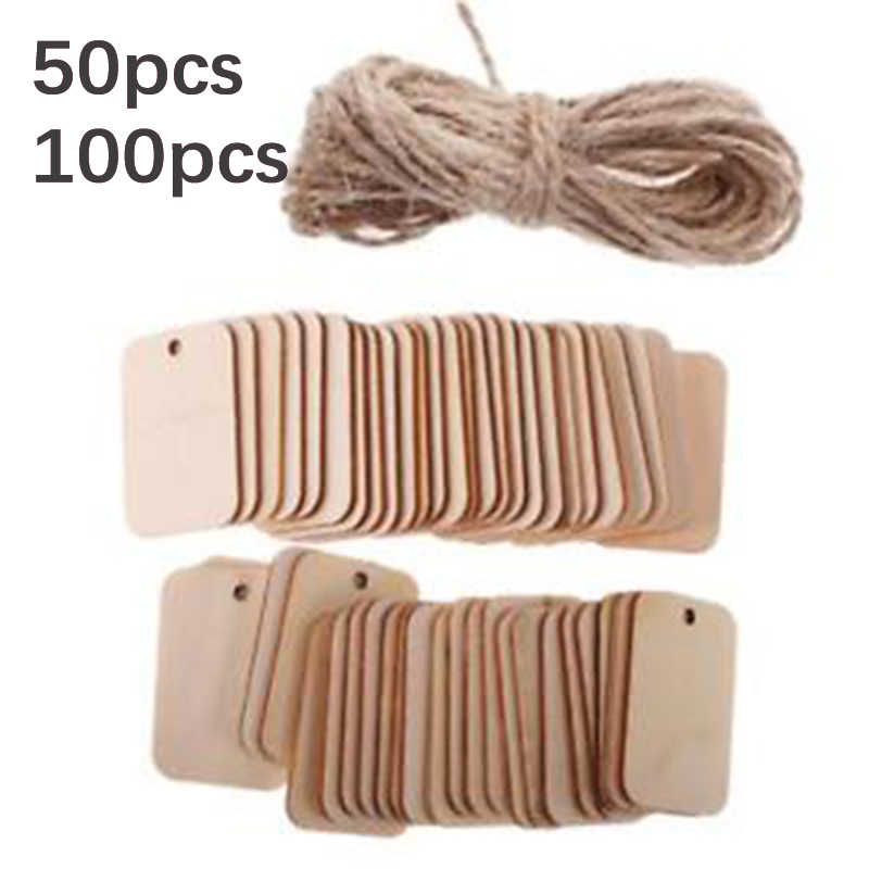 50pcs/100pcs Wooden Label Nature Wood Slice Gift Tags Hanging Label Wedding Party With Hemp Ropes for Christmas tree