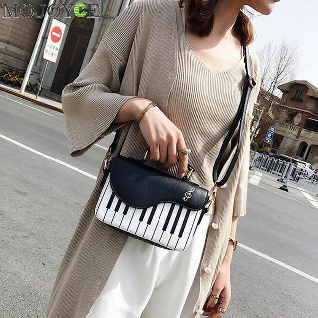 Cute Piano Pattern Fashion Pu Leather Casual Ladies Handbag Shoulder Bag Crossbody Messenger Bag Pouch Totes Women's Flap bolsa