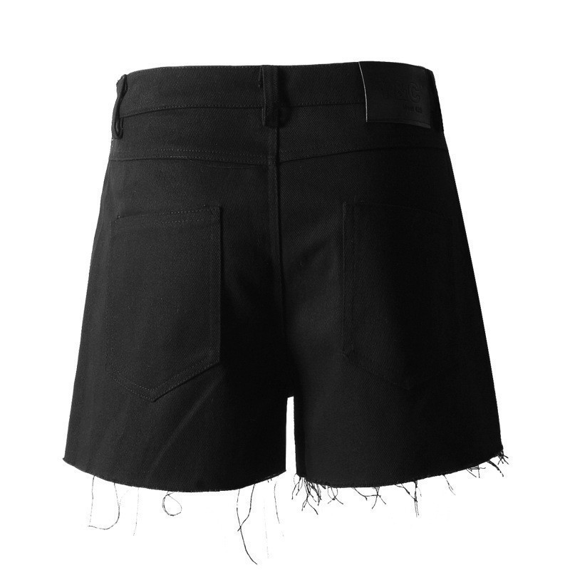 Marea Diamante Denim De Pantalones Black 2019 Mujer Moda Ropa Alta Pesado Cortos Borlas Verano E050 Cintura ROY5gxnqwn