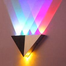 Lâmpada de parede led de 5w, triangular, de alumínio, para parede, para quarto, iluminação doméstica, banheiro, luminária, arandela