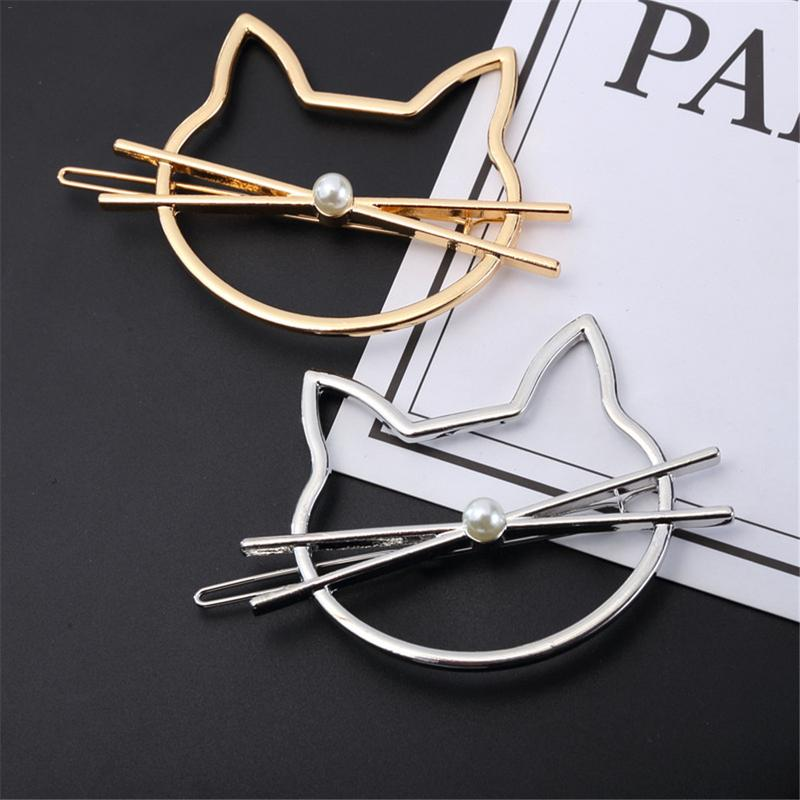 1 PCS Korean Type Fashionable Jewelry Cute Cutout Cat Shaped Pearl Clip Female   Headwear   Bobby Pin Hairpin Hair Accessories