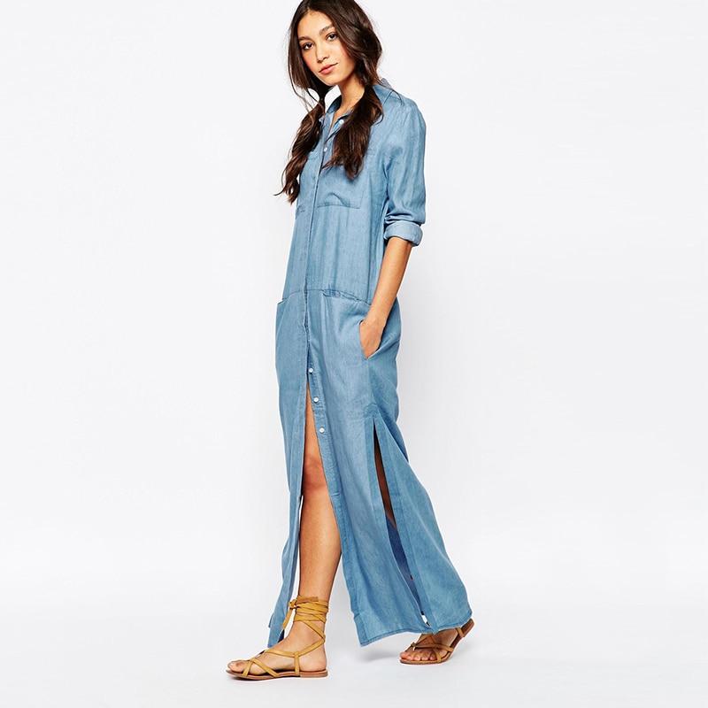 05355f5ac54 New Denim Dress Women Blue Summer Fashion Casual Female Maxi Dress Women  Dresses Ladies Long Denim Dress Clothing Plus Size XXL