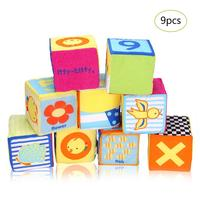 9pcs/set baby cloth blocks Cartoon soft Cube rattle toy early Educational Baby Toy Soft Plush Set Cube size 9*9*9 cm