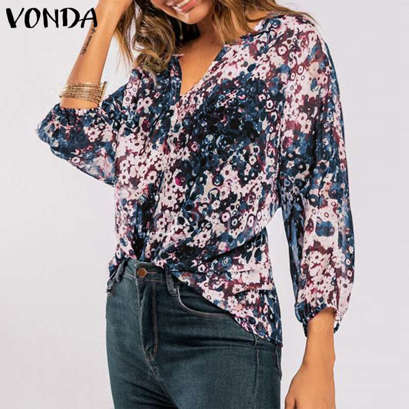 VONDA Plus Size Blouse Women 2019 Spring Sexy V Neck Long Sleeve Vintage Print Shirts Casual Loose Tops Blusas Femininas