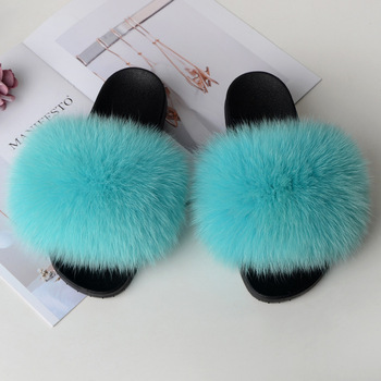 Home Slippers Women Fox Fur Slides Furry Female Indoor Slippers Furry Summer Shoes Woman Sandals Flat Brand Luxury Plus Size Eva 1