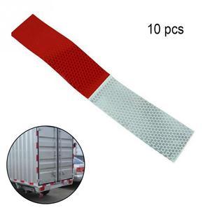 Image 2 - 10 adet araba yansıtıcı çıkartmalar uyarı şeridi yansıtıcı kamyon oto malzemeleri gece sürüş güvenlik güvenli kırmızı beyaz etiket 5*30cm