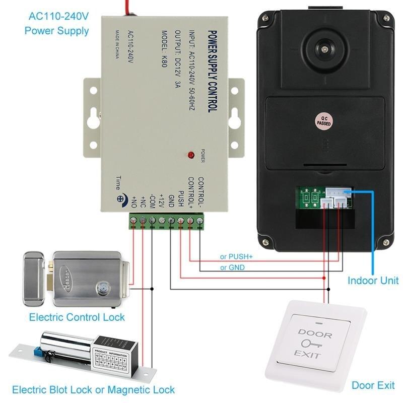 Clé de presse filaire 7 pouces vidéo porte téléphone interphone sonnette système Kit Vision nocturne 1 Rfid clavier Code Ir caméra + 1 moniteur - 4