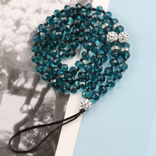 mobile phone lanyard with diamond hanging chain handmade knotted crystal long bead neck