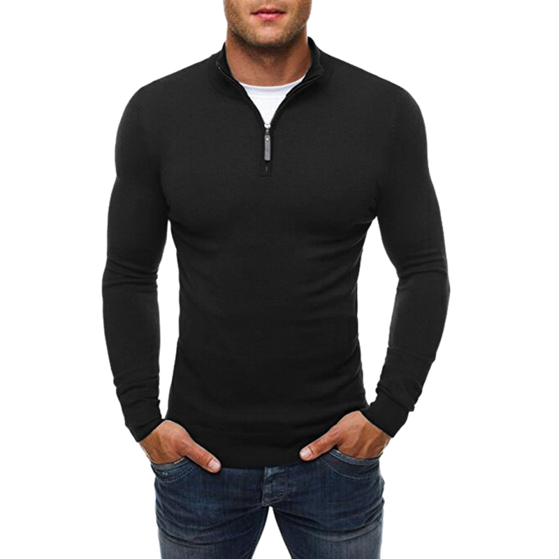 Men Fashion Turtleneck Long Sleeve Zipper Sweater Elastic Male Autumn Winter Casual Solid Color Slim Fit Knitted Sweat