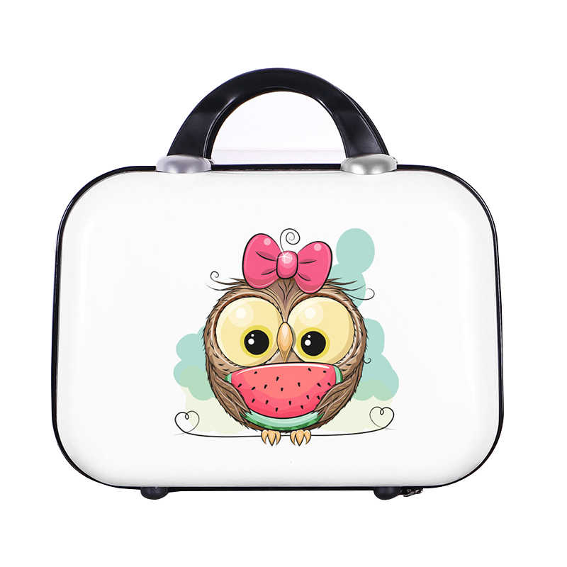 Small Cartoon Travel Luggage Suitcase Hard Bag Lady Clothes Beauty Toiletry Cosmetic Organizer Box Case Weekend Necessary