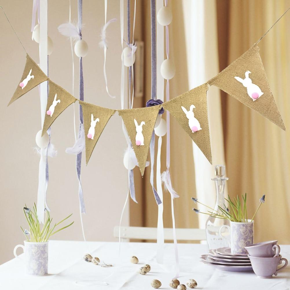 1 шт., пасхальный баннер, Банни, 2 метра, кролик, деревенская гирлянда для праздника, Декор, Пасхальная вечеринка, фото реквизит