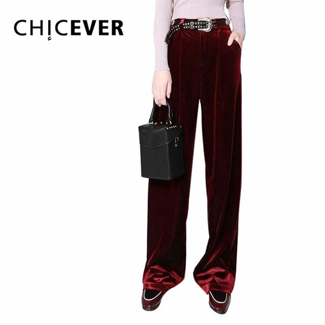 CHICEVER de terciopelo de otoño pantalones de pierna ancha de cintura alta  pantalón para mujer amplio 0a0576f40c2